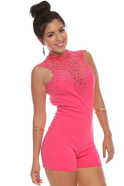pink pattern romper pink crochet pattern neckline tie up open v back romper