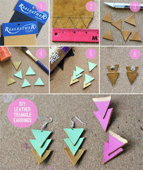 How To Make Easy Paper Earrings At Home - diy leather triangle earrings henry happened