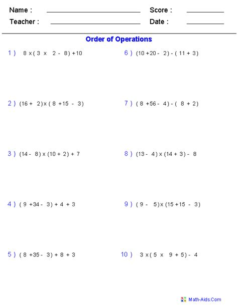 5th Grade Math Order Of Operations Worksheets by Order Of Operations Worksheets Order Of Operations