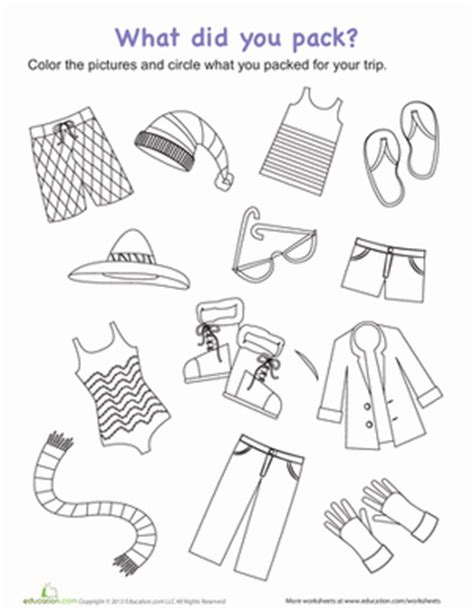 preschool vacation coloring pages packing for a trip worksheet education com