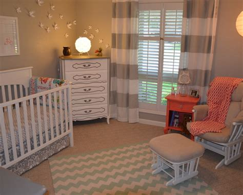 Grey And White Nursery Decor Nursery Decor Ideas Picture Nursery With Striped Curtains In White And Light Grey Png