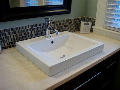 Xyuim White Semi Recessed Sink Set in Honed Travertine