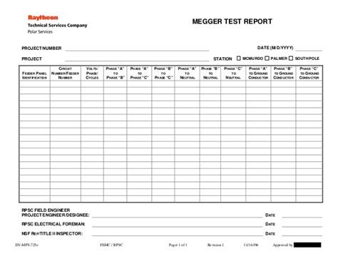 megger test report template 28 images megger test