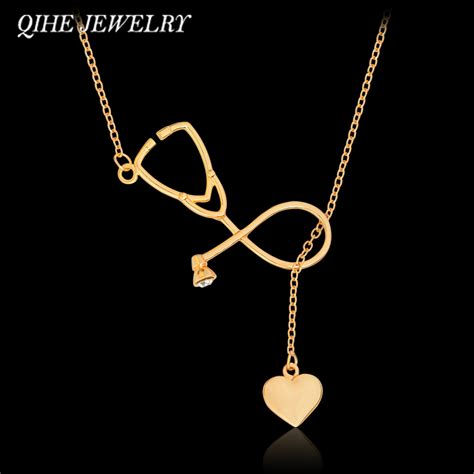Best Metal For Jewelry Gold Nersels Designer Trendy Gold Jewelry by Qihe Jewelry Gold Silver 2 Color Stethoscope