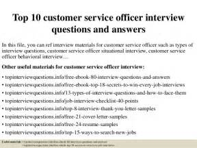 top 10 customer service officer questions and