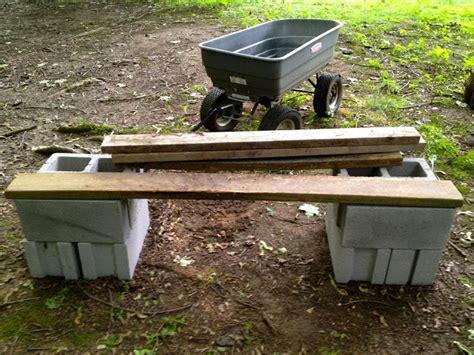 cinder block wood bench monsoon rains cinder block garden bench
