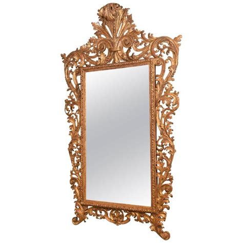 Large 19th Century Italian Carved Giltwood Large Foliate Carved 19th Century Italian Giltwood Mirror For Sale At 1stdibs