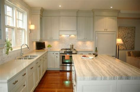 Grey Green Kitchen Cabinets Benjamin Hazy Skies Gray Green Kitchen Cabinets Marble Tiles Backspalsh Silver Gray