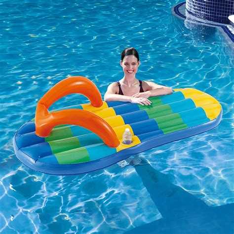blue wave beach striped flip flop inflatable pool float