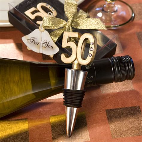 Birthday Giveaways - 50th birthday wine bottle stopper favors golden anniversary favors