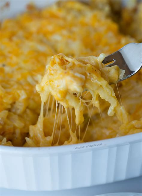 cheesy hashbrown casserole table for two