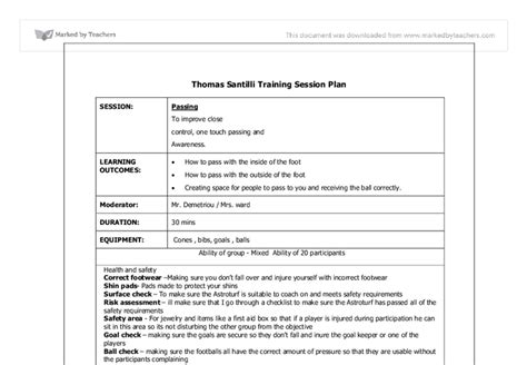 Session Plan Coaching Football Skills Aim Improve Close Control One Touch Passing And Rugby Coaching Session Plan Template