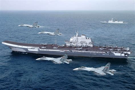 airplane carrier cgi of liaoning cv16 ex varyag aircraft carrier with j 15 flying shark