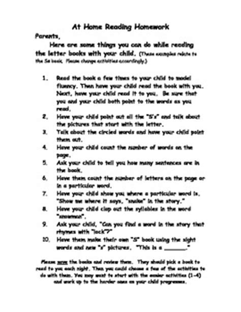 Parent Letter Home About Reading Parent Letter At Home Reading Homework Take Home Books By Amiarie