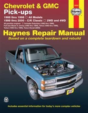 haynes repair manual 24065 chevrolet gmc pick ups 1988 1998 2wd 4wd tahoe blazer for sale haynes repair manual for chevy and gmc pick ups 1988 thru 1998 gasoline engine models
