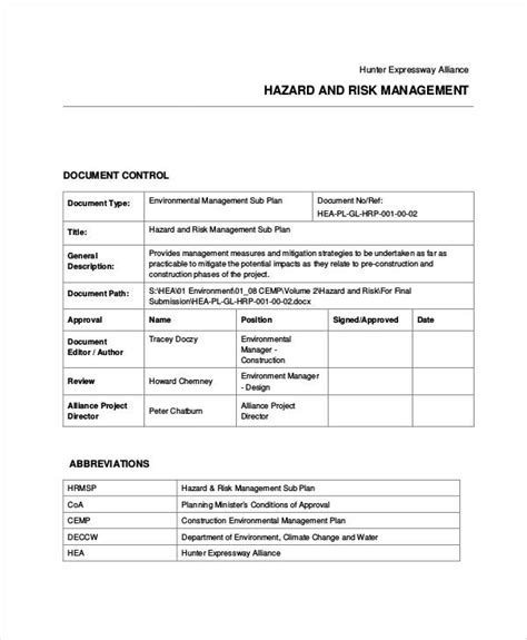 small business risk management plan template 30 exles of risk plans
