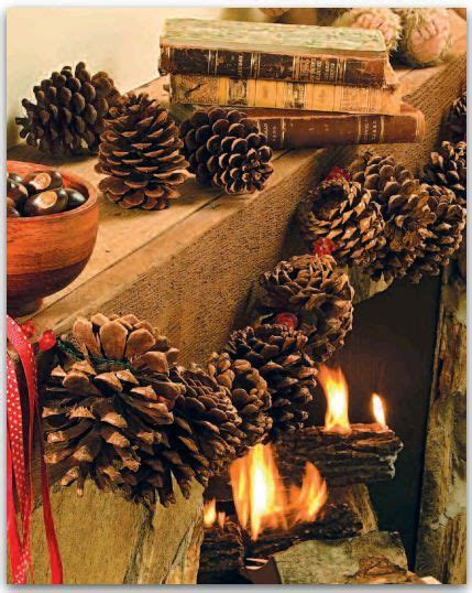 pine cone themed decor pinecone garland garlands and pine cones on