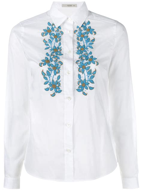 Floral Embroidered Shirts White lyst etro embroidered floral shirt