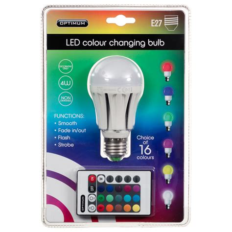 Led Light Changing Bulbs Optimum Led Colour Changing Light Bulb E27 Diy Bulbs Lighting