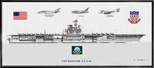 Cv 61 by Uss Ranger Cva 61 W Aircraft Print Aircraft Carriers
