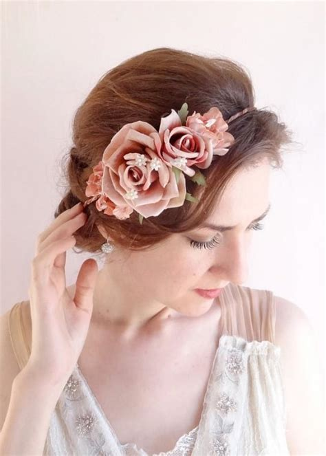 Ombre Hair Clip Dusty Pink vintage style floral crown dusty pink flower crown