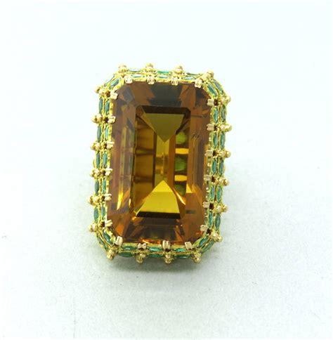 buccellati citrine emerald gold cocktail ring at 1stdibs
