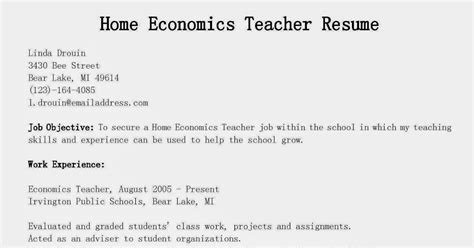 resume sles home economics resume sle