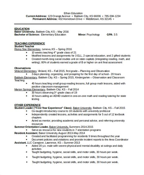 Resume Templates For Education Sle Word Resume 8 Exles In Pdf Word
