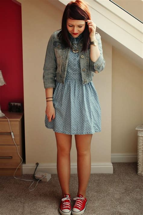 denim dress polka dot dress denim jacket red converse