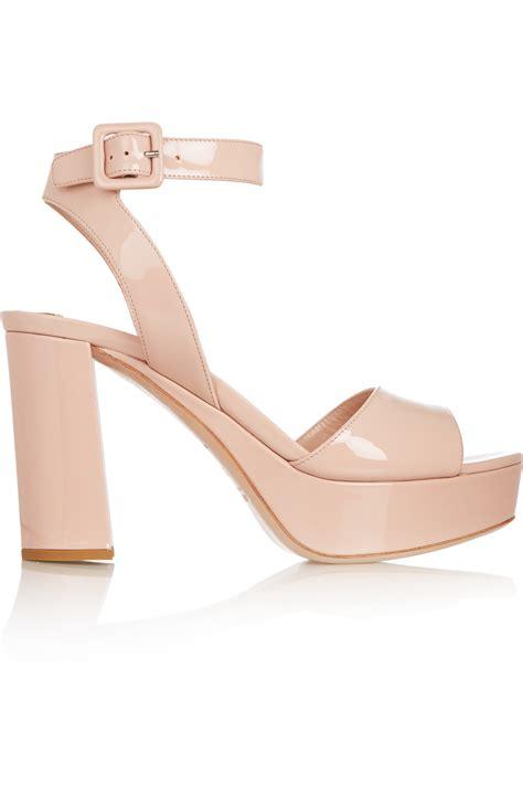 pink platform sandals lyst miu miu patent leather platform sandals in pink