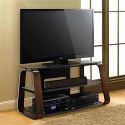 tv stands for 55 inch tv bello curved wood 55 inch tv stand with tinted glass