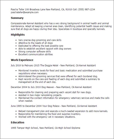 Kennel Attendant Sle Resume professional kennel assistant templates to showcase your talent myperfectresume