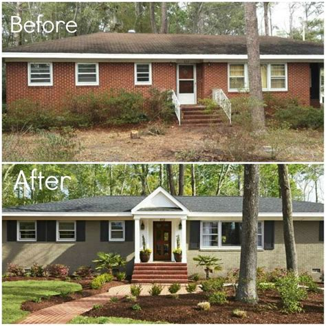 before after adding porch and shutters painting brick landscape front house making a