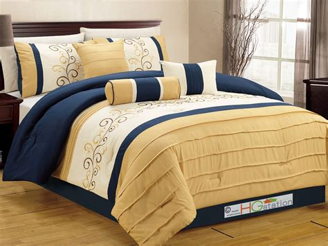 yellow and navy bedding 7 pc floral scroll vine embroidery pleated comforter set