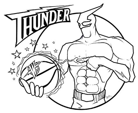 oklahoma city thunder free coloring pages