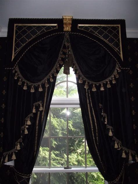 Black And Gold Window Valances Black Gold Drapes Window Treatments
