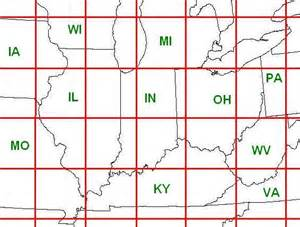 us map with grid climatology of derecho events in the united states