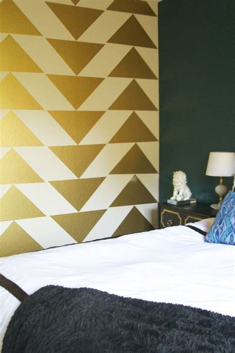 gold accent wall gold triangle accent wall interiors pinterest