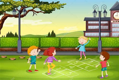 imagenes de niños jugando la rayuela ni 241 os jugando rayuela en el parque vector de stock