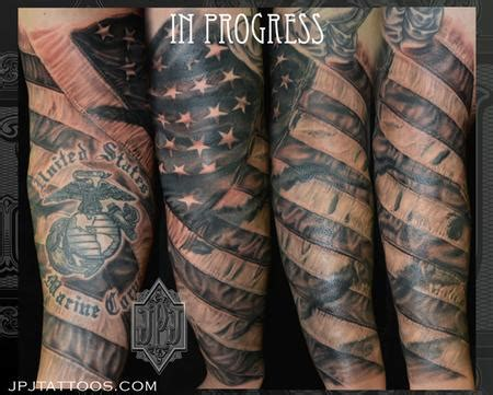 black and grey american flag tattoo american flag by jose perez jr tattoonow