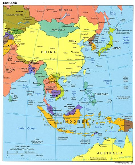 political map of asia east asia political map 2004 size