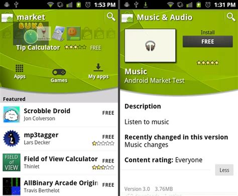 market android new android market and apps spotted