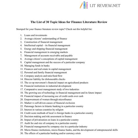 Literature Review Topics List by The List Of 30 Topic Ideas For Finance Literature Review Pdf Docdroid