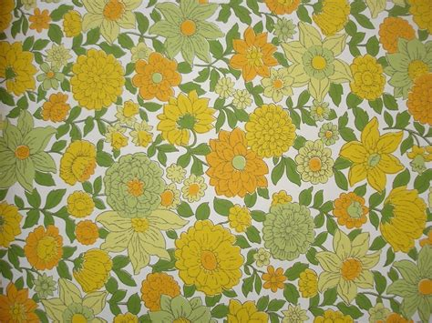 flower wallpaper etsy vintage wallpaper yellow orange and green floral per yard