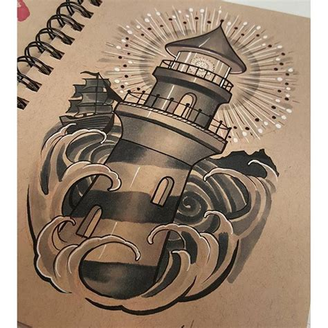 ship waves tattoo lighthouse on instagram
