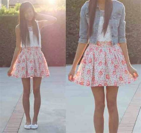 cute floral skirt outfits for teens jean jacket w skirt floral teen fashion by