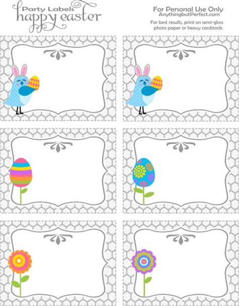 printable easter themed name tags easter party labels printable labels and tags pinterest