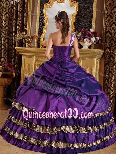 Lace Shoulder Leopard Pattern 3964 Purple leopard print ruffles appliques sweet 15 dress with one