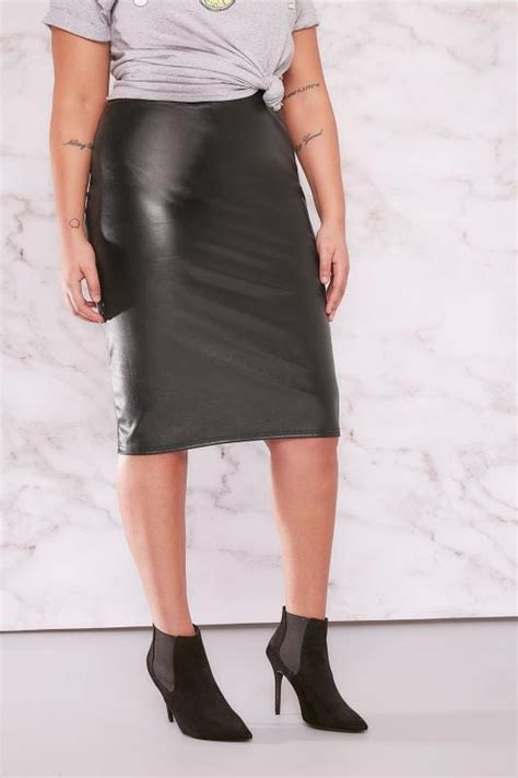 The Limited Gift Card Refund - limited collection black pu midi pencil skirt plus size 16 to 32
