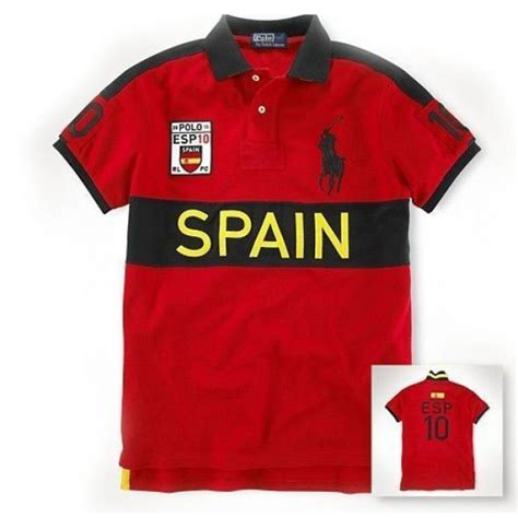 Polo Shirt Spain 3 ralph big pony spain flag symbol sleeve polo